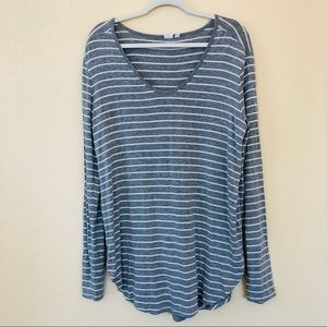 Gap Gray Striped Scoop Neck Long Sleeve Top